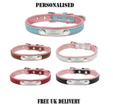 Personalised Soft Leather Dog Collar Custom Name ID Tags Pet Cat And Match Leads