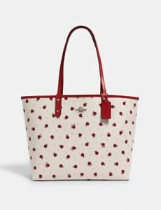 Coach Reversible City Tote Purse - Red, Ladybug Print