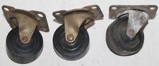 Set 3 Vintage  Castor Wheels Swivel     Metal  1.5 Inch  Caster Wheels