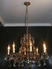 Antique 1970s large brass pineapple glass crystal ceiling chandelier Spain