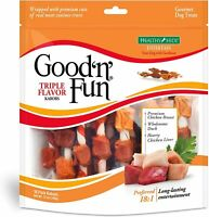 Good'N'Fun Triple Flavored Rawhide Kabobs for Dogs 12oz 18 Count Free Shipping