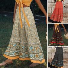 Женская пляжная ретро Богемия цветочная юбка макси праздник свинг трапециевидный длинное платье плюс