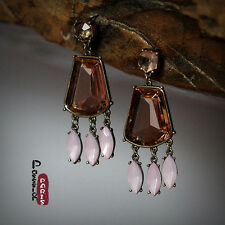 Boucle d`Oreille Femme Vintage Ancien Style Ambre Rose Pale Super Joli AA 8