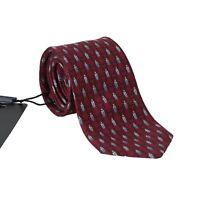 NEW $180 DOLCE & GABBANA Tie Bordeaux 100% Silk Gray Bug Print Classic Necktie