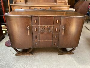 Vintage Antique Art Deco Brown Wooden Sideboard with Cupboards &  Drawers