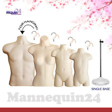 4 Pack Torso Mannequins Male Female Child Amp Toddler Flesh 4 Hangers 1 Stand