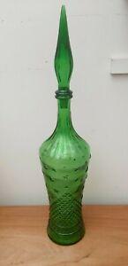 "Mid-Century Retro Empoli Glass Moon & Stars Bottle Decanter 22.5"""