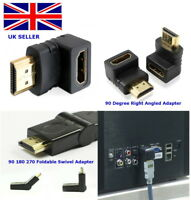 HDMI Male to Female Right Angled 270 180 90 Degree HD Adapter Connector 1.4 Gold
