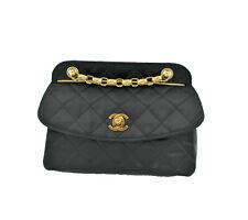 Chanel Black Satin Lambskin Single Flap Crossbody Vintage Bag Bijuox chain
