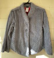 Patagonia Women's Pelage Fleece Faux Fur Gray Jacket Small Coat Hot Pink Inside