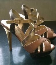 Dorothy Perkins UK 5 Eur 38 NEW nude/animal print/gold platform heels
