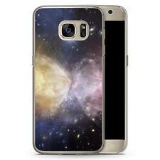 Samsung Galaxy S7 Hard Case Hülle - Galaxy Universe Nebula Lila-Gelb Motiv Desi
