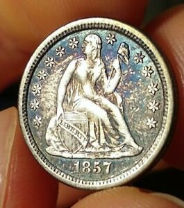 1857 o xf / au seated liberty dime sharp strike rainbow gold blue nice silver