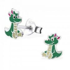 Girls/boys green dinosaur with bow sterling silver stud earrings  - pouch