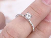 Real 14K White Gold Wedding Rings 0.62 Ct VVS1/D Diamond Engagement Ring Size 7