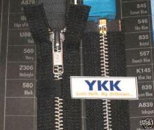 """(12) 22"""" #5 Aluminum Zipper ~ Separating ~ Black ~ YKK"""