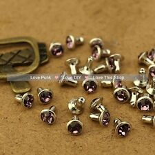 100pcs 6mm Purple Color Acrylic Rivet Spot Nickel Punk Bag Belt Leathercraft DIY