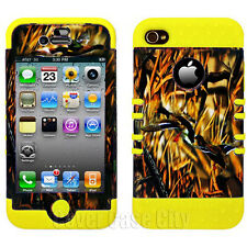 For Apple iPhone 4 4S Hybrid Yellow Soft Phone Case Hunter Ducks Camo Hard Cover