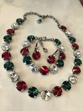 Swarovski Crystal Elements In Antique Silver Red Green Crystal 12mm  Jewelry New