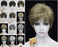 11 Peluca Corta Color Recto Mujeres señoras pelucas de pelo natural Negro Rojo Rubio