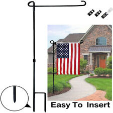 "36"" Black Wrought Iron Garden Flag Pole Holder Stand Stake Poles Banner Flagpole"