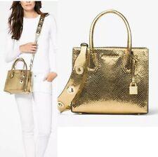 NWT Michael Kors Mercer Medium Leather Messenger Bag In Pale Gold