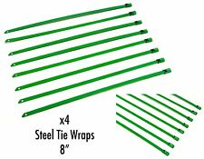 """QTY 4 8"""" UNIVERSAL STAINLESS STEEL ZIP TIE CABLE FOR EXHAUST HEADER WRAP GREEN"""