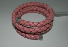 Carolyn Pollack American West Pink Leather Braided Wrap Coil Bracelet
