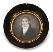 Portrait gentilhomme médaillon peinture époque XIXème