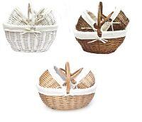 Shabby Chic Oval Wicker Easter Egg Shopping Fruit Picnic Hamper Basket + Handle