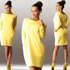 Autumn Winter Women Long Sleeve Pocket Dress Solid O-Neck Casual Loose Dress