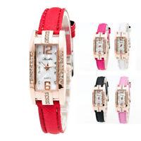 Fashion Women's Analog Quartz Wrist Watch Stainless Steel Dial Leather Bracelet