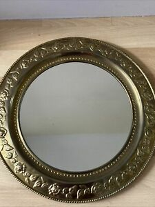"""VINTAGE ROUND BRASS Wall Mirror  PORTHOLE Roses Shabby Chic 14"""""""