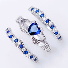 3Pcs Irish Claddagh Celtic Heart Sapphire 925 Silver Ring Wedding Set New Size 7