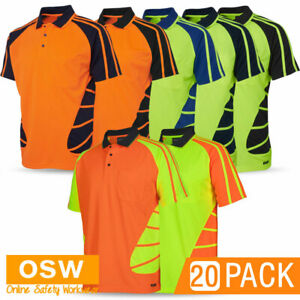 20 x Hi Vis UNISEX Cool Two Tone Tradie SPIDER Short Sleeve Polo WORK Shirts