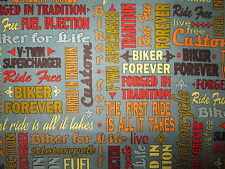 MOTORCYCLE CLUB WORDS BIKER MOTORCYCLES FOR LIFE GRAY COTTON FABRIC FQ