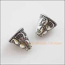 4Pcs Tibetan Silver Tone Flower Cone End Bead Caps Craft DIY 12x13mm