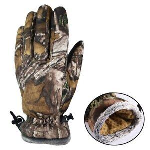 Winter Thicken Fleece Skiing Gloves Thermal Tree Bionic Camo Hunting Fishing
