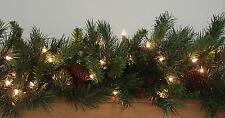 "VICKERMAN 9' x 14"" Pre-Lit Cheyenne Pine Christmas Garland - Clear Dura Lights"