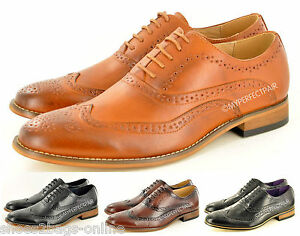 New Mens Formal Brogue Lace Up Office Shoes Leather Lined Size 6 7 8 9 10 11 12
