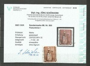 DDR  505 PF I  gestempelt  Fotobefund  neu  Schönherr  150.-€