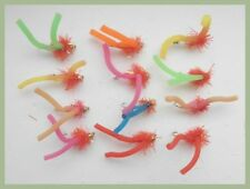 Worm Fishing Fly, 12 Goldhead Squirmy Worms, Mixed Colours Size 10 For fly Fishi