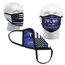 Trump Thin Blue Line Police Law Face Mask Washable Mask ✅ Double  ✅ Layer