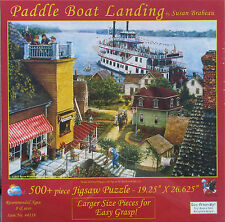SunsOut PADDLE BOAT LANDING 500 pc Jigsaw Puzzle XL Pieces Riverboat