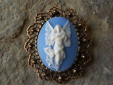 2 IN 1 GUARDIAN ANGEL WITH WINGS CAMEO BROOCH/PIN/PENDANT -  XMAS, EASTER!!