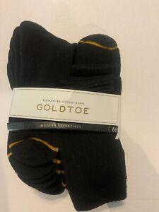 Men's Goldtoe Crew Socks Black or White size 6-12.5 - 6 Pairs Premium Comfort