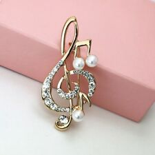 Clip Gold Color Musical Note Brooch Pins Crystal Rhinestone Pearl Scarf Buckle