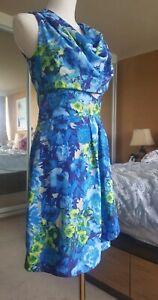 PORTMANS sleeveless floral A line dress blue yellow draped cowl neck zip size 8