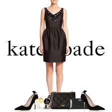 NWT $598 Kate Spade New York Black  Embellished Cupcake Dress.SZ:10
