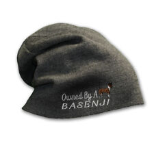 Slouchy Beanie for Men Owned by A Basenji Embroidery Winter Hats Women Skull Cap